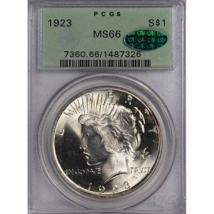 1923 $1 Peace Dollar PCGS MS66 (CAC) #3303-5