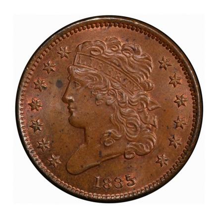 1835 1/2C Classic Head Half Cent PCGS MS64+BN #3267-1