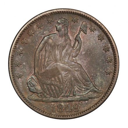 1849 50C Liberty Seated Half Dollar PCGS MS64 #3148-20 COLOR!
