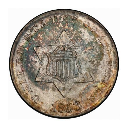 1853 3CS Three Cent Silver PCGS MS67+ (CAC) #3204-1