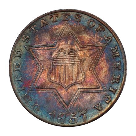 1857 3CS Three Cent Silver PCGS MS66 #3047-2 COLOR!