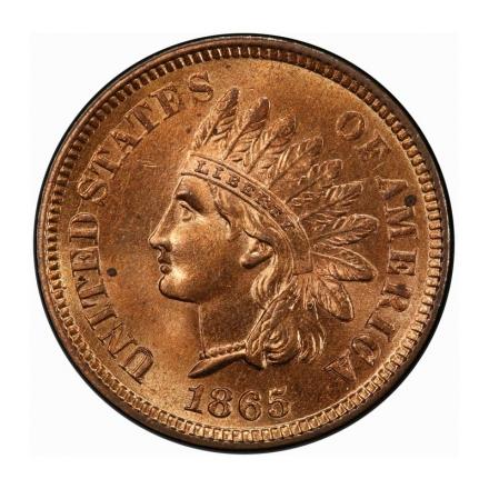 1865 1C Fancy 5 Indian Cent - Type 3 Bronze PCGS MS65RD #3267-2