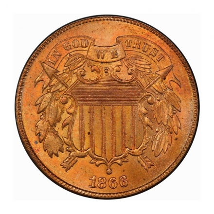 1866 2C Two Cent Piece PCGS MS65RD #3267-6
