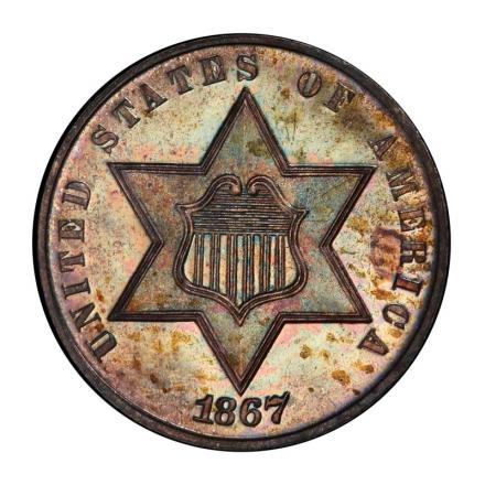 1867 3CS Three Cent Silver PCGS PR66+ (CAC) #3179-2