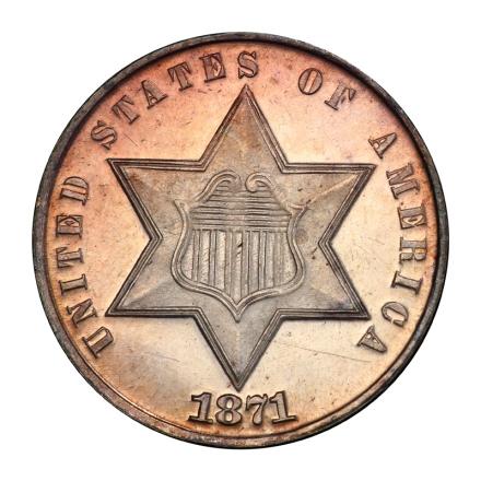 1871 3CS Three Cent Silver PCGS MS66+ (CAC) #3044-1
