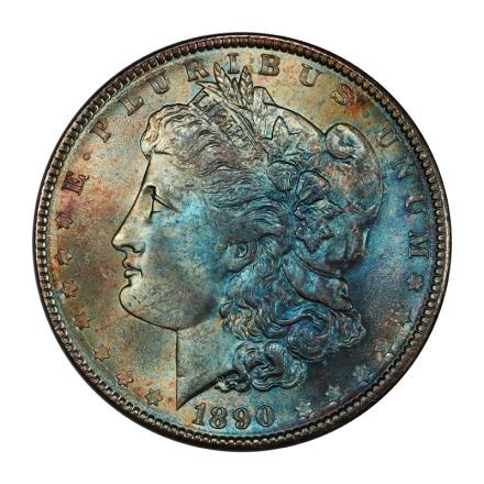1890 $1 Morgan Dollar PCGS MS65+ #3148-44 COLOR