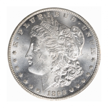 1893-CC $1 Morgan Dollar PCGS MS64+ (CAC) #3135-2 BLAST WHITE! CONDITION RARITY!