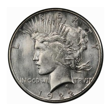 1922-S $1 Peace Dollar PCGS MS66 #3241-2