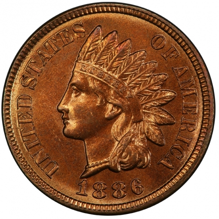 1886 1C Variety 2 Indian Cent - Type 3 Bronze PCGS MS66+RD #3281-2