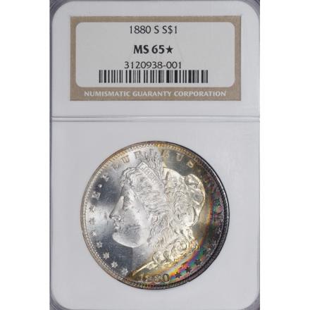 1880-S Morgan Dollar S$1 NGC MS65 3308-3