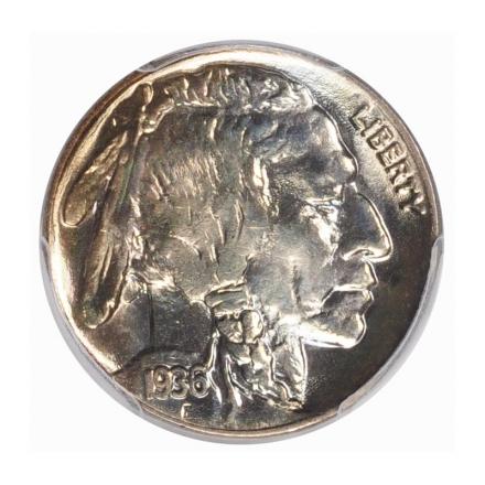 1936 5C Buffalo Nickel PCGS MS67 #3267-15