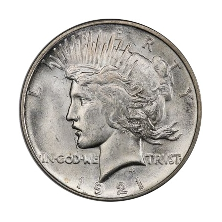1921 $1 Peace Dollar - Type 1 High Relief PCGS MS64 #3295-16