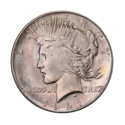 1921 $1 Peace Dollar - Type 1 High Relief PCGS MS64 (CAC) #3295-3
