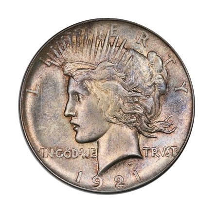 1921 $1 Peace Dollar - Type 1 High Relief PCGS MS63 (CAC) #3295-4
