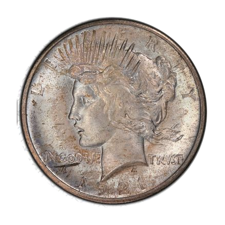 1921 $1 Peace Dollar - Type 1 High Relief PCGS MS64+ (CAC) #3295-7 VAM 1F Proof polish lines.