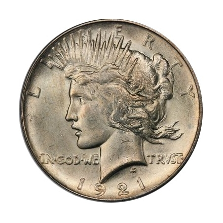 1921 $1 Peace Dollar - Type 1 High Relief PCGS MS64 #3295-8