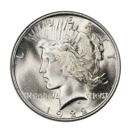 1922 $1 Peace Dollar PCGS MS66 (CAC) #3297-2