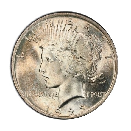 1923 $1 Peace Dollar PCGS MS66+ (CAC) #3297-7