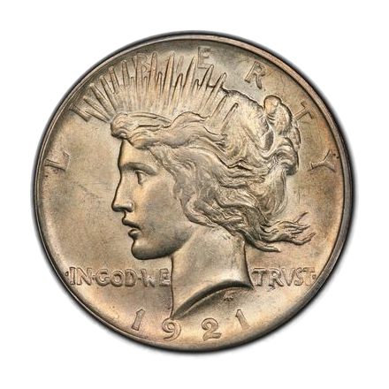 1921 $1 Peace Dollar - Type 1 High Relief PCGS MS62 #3301-1