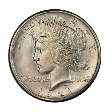 1921 $1 Peace Dollar - Type 1 High Relief PCGS MS66 #3311-5 (CAC)