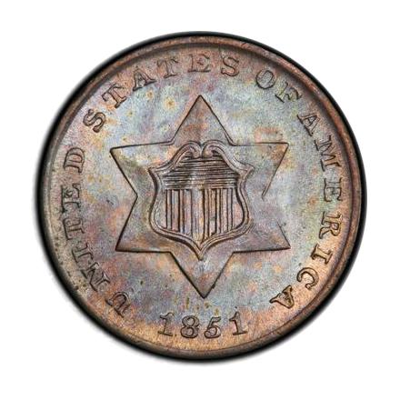 1851 3CS Three Cent Silver PCGS MS67 (CAC) #3326