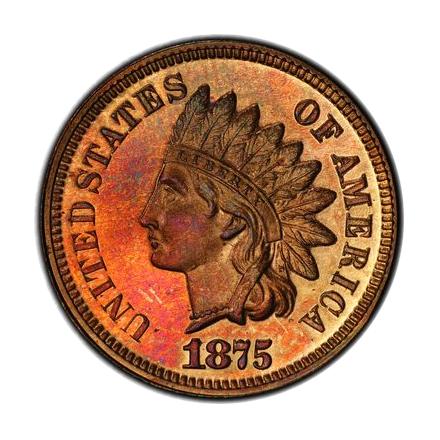 1875 1C Indian Cent - Type 3 Bronze PCGS PR65RB (CAC) #3327-2