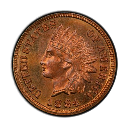 1884 1C Indian Cent - Type 3 Bronze PCGS PR66+RB (CAC) #3327-4