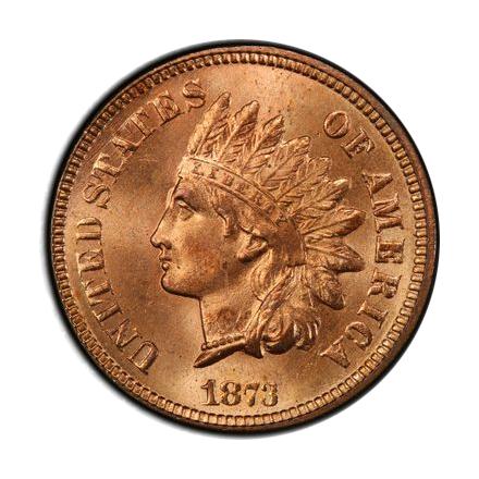 1873 1C Open 3 Indian Cent - Type 3 Bronze PCGS MS66+RD #3328-1 POP 1 !