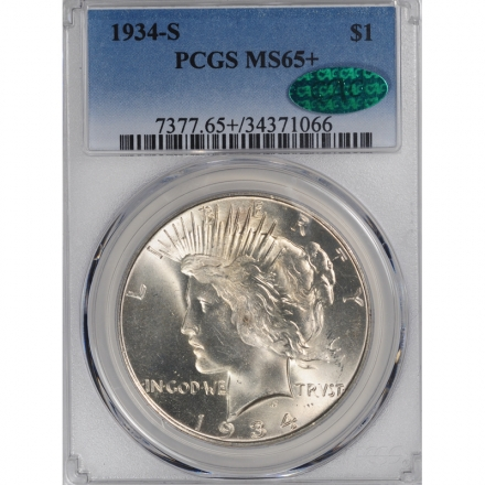 1934-S $1 Peace Dollar PCGS MS65+ (CAC) #3283-3