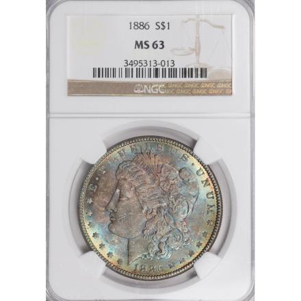 1886 Morgan Dollar S$1 NGC MS63 3308-1