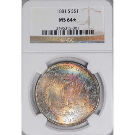 1881-S Morgan Dollar S$1 NGC MS64 3308-6