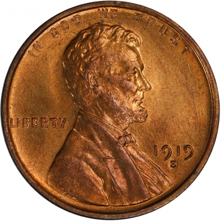 1919-S 1C Lincoln Cent - Type 1 Wheat Reverse PCGS MS65+RD #3281-3