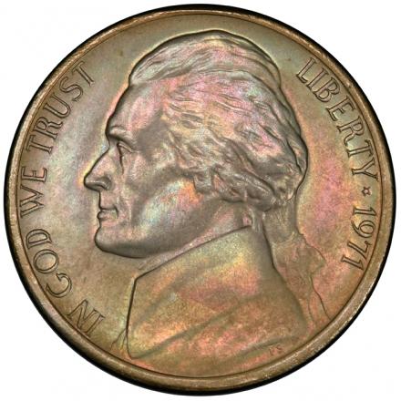 1971 5C Jefferson Nickel PCGS MS66+FS #3281-19