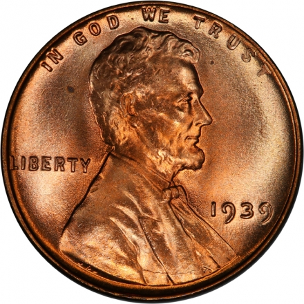 1939 1C Lincoln Cent - Type 1 Wheat Reverse PCGS MS67RD #3281-6