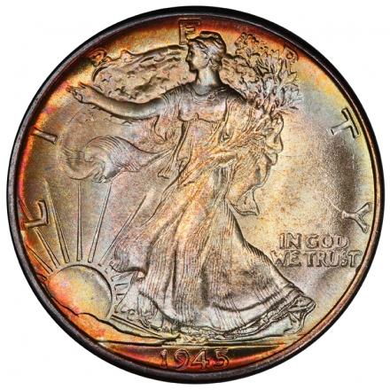 1945 50C Walking Liberty Half Dollar PCGS MS67+ #3281-30