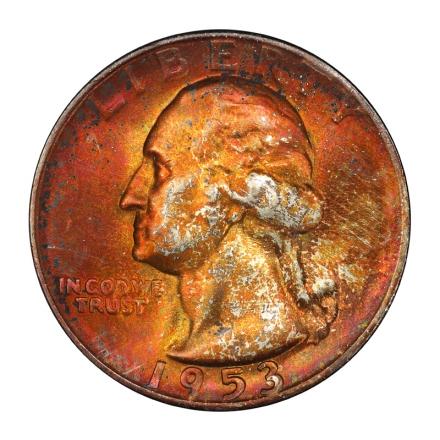 1953-S 25C Washington Quarter PCGS MS67+ (CAC) #3148-38 MONSTER COLOR!