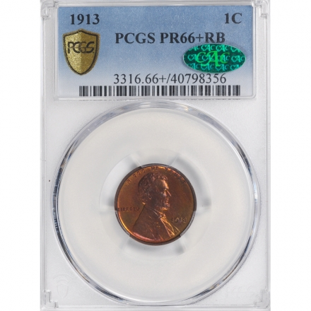 1913 1C Lincoln Cent - Type 1 Wheat Reverse PCGS PR66+RB 3312-4 (CAC)