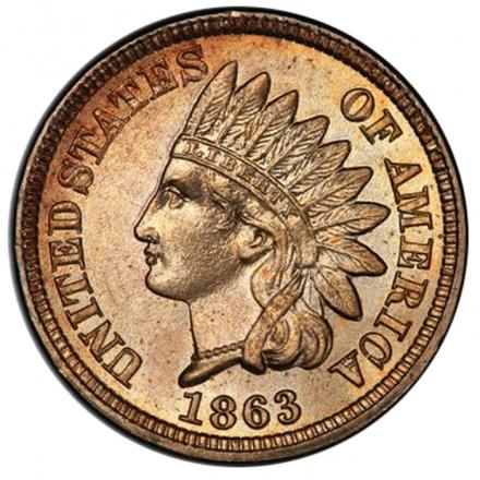1863 1C Indian Cent - Type 2 Copper-Nickel PCGS MS67 3294-2