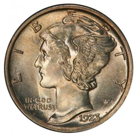 1923-S 10C Mercury Dime PCGS MS64FB (CAC) #3293-3
