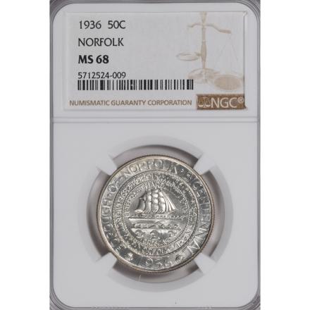 NORFOLK 1936 Silver Commemorative 50C NGC MS68 3294-20