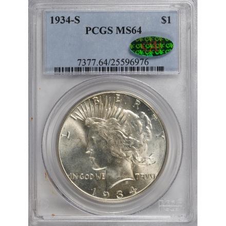 1934-S $1 Peace Dollar PCGS MS64 #3280-1