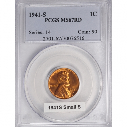 1941-S 1C Lincoln Cent - Type 1 Wheat Reverse PCGS MS67RD #3281-7