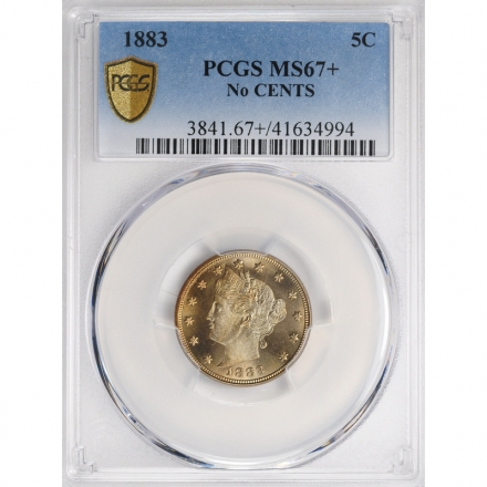 """1883 5C No CENTS Liberty Nickel - Type 1 No """"CENTS"""" PCGS MS67+ #3281-8"""