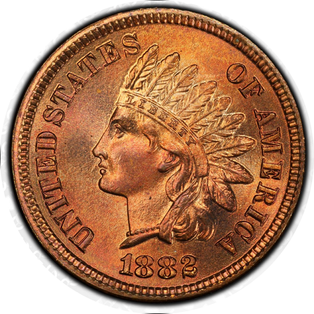 1882 1C Indian Cent - Type 3 Bronze PCGS MS66+RD #3350-1
