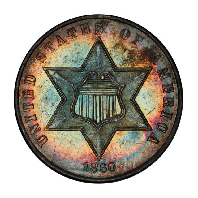 1860 3CS Three Cent Silver PCGS PR66