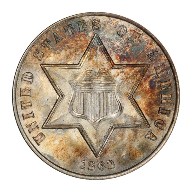 1862 3CS Three Cent Silver PCGS MS67+ (CAC) #3016-1 TOP POP, NONE FINER!
