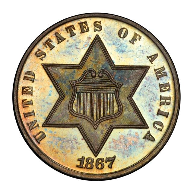 1867 3CS Three Cent Silver PCGS PR66+ (CAC) #3045-2