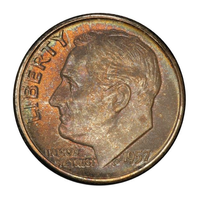 1957 10C Roosevelt Dime PCGS MS67+ #3148-4 COLOR!