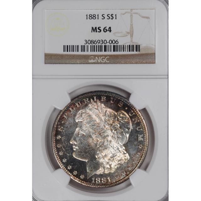 1881-S Morgan Dollar S$1 NGC MS64 3308-11