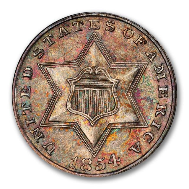 1854 3CS Three Cent Silver PCGS MS66 #2862-1